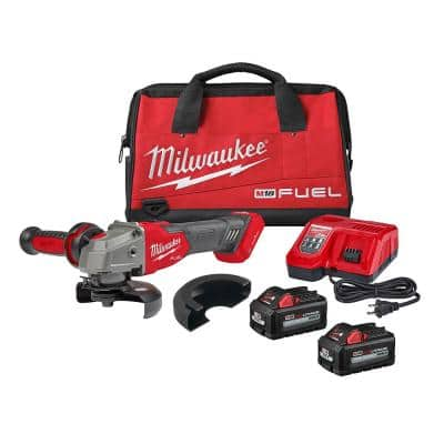 M18 FUEL 18-Volt Lithium-Ion Brushless Cordless 4-1/2 in./5 in. Braking Grinder Kit w/Slide Switch and Two 6.0 Batteries