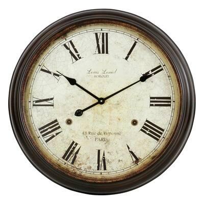 Emmaline Distressed Brown Round Wall Clock