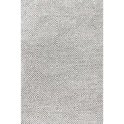 Agoja Contemporary Diamonds Ivory 8 ft. x 10 ft. Area Rug