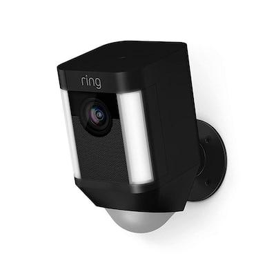 Spotlight Cam Battery Outdoor Rectangle Security Wireless Standard Surveillance Camera in Black