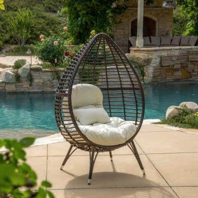 Cutter Multi-Brown Teardrop Wicker Outdoor Lounge Chair with Beige Cushion