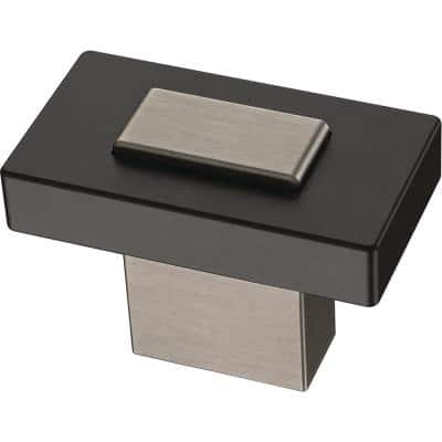 Industrial Insert 1-7/16 in. (36mm) Heirloom Silver and Matte Black Cabinet Knob