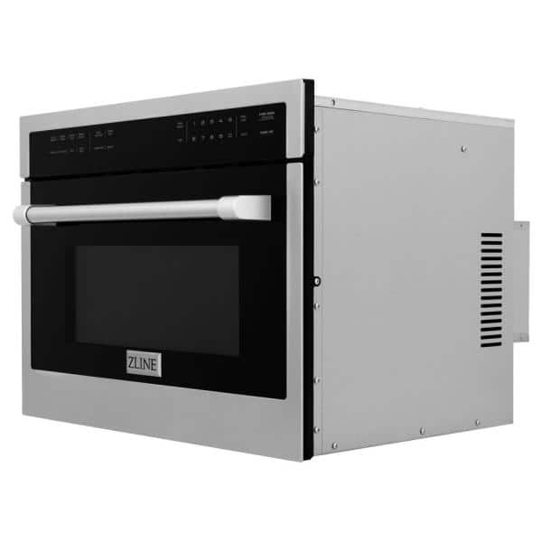 Zline Kitchen And Bath 24 In 1 6 Cu Ft Built In Microwave Oven In Stainless Steel Mwo 24 The Home Depot