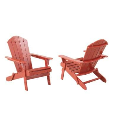 Classic Chili Red Folding Wooden Adirondack Chair (2-Pack)