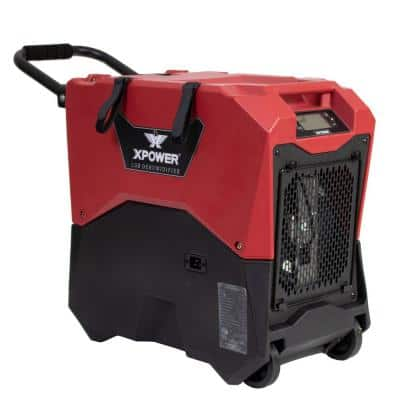 145-Pint LGR Commercial Dehumidifier with Auto Purge Pump, Handle and Wheels for Water Damage Restoration in Red