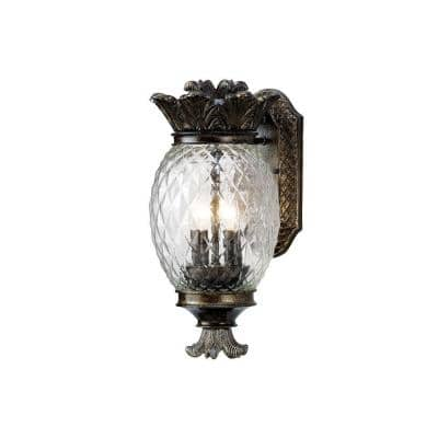 2-Light Bronze Outdoor Pineapple Coach Light Sconce with Patterned Glass