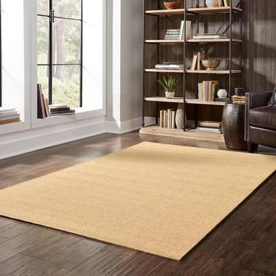 Caicos Solid Weave Tan- 5 ft. 3 in. x 7 ft. 6 in. Indoor/Outdoor Area Rug