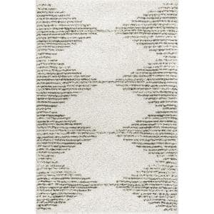 Scarlette Abstract Diamond Shag Off White 4 ft. x 6 ft. Area Rug