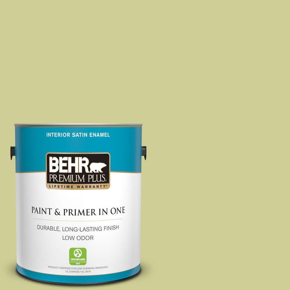 Behr Premium Plus 1 Gal M340 4 Wasabi Satin Enamel Low Odor Interior Paint And Primer In One 740001 The Home Depot