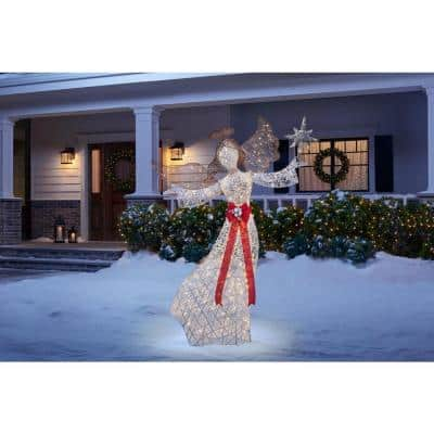 7.5 ft Polar Wishes LED 300-Light Angel with Star Yard Sculpture