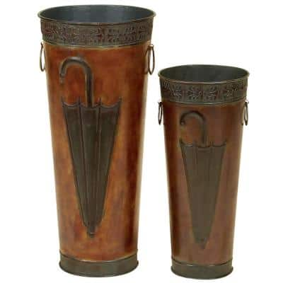 Polished Bronze Iron Metal Tapered Cylindrical Umbrella Stands with Loop Ring Handles (Set of 2)