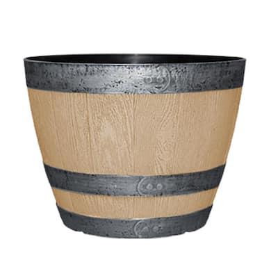 11.3 in. Napa Barrel Natural Oak Resin Planter Barrel Fits 10 in. Drop-N-Decorate