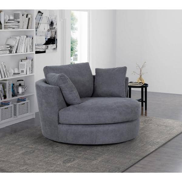 Dark Gray Charcoal Fabric Swivel, Round Swivel Chair Living Room