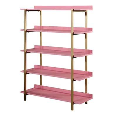 Genesis 57 in. Antique Pink 5-Shelf Contemporary Open Bookcase
