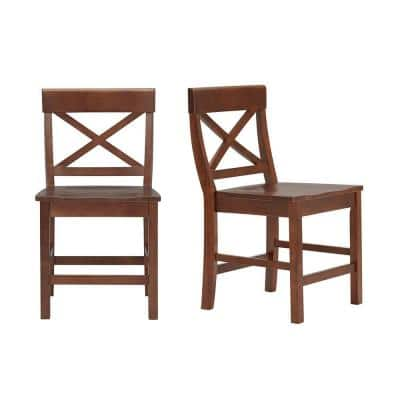 Cedarville Walnut Finish Dining Chair with Cross Back (Set of 2) (19.42 in. W x 31.98 in. H)