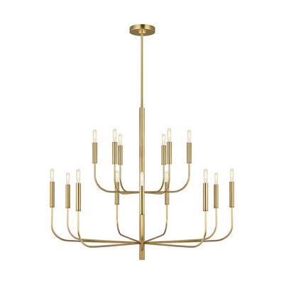 ED Ellen DeGeneres Brianna 15-Light Burnished Brass Minimalist Modern Hanging Candlestick Chandelier and Swivel Rod