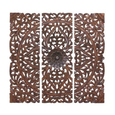 24 in. x 71 in. Large Hand-Carved Natural Pine Wood Wall Panels with Floral and Acanthus Designs