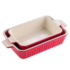 2-Piece Red Rectangle Porcelain Bakeware Set 9 in. and 11 in. Baking Dishes