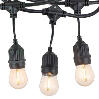 Outdoor/Indoor 48 ft. Corded Patio LED String Lights with 15 Sockets and 16 1-Watt S14 Filament Bulbs for Porch or Cafe