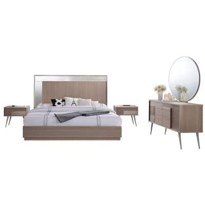 Brazil Modern Taupe Bronze Queen Bedroom Set (5-Piece)