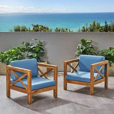 Brava Teak Brown Removable Cushions Wood Outdoor Lounge Chair with Blue Cushion (2-Pack)