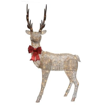 86 in. H Cotton Spun String Standing Elk, 160 Piece Warm White Twinkling LED's, Including 26 Twinkling Bulbs