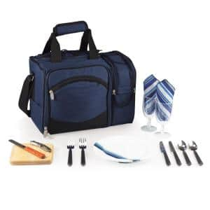 Malibu Navy Wood Picnic Cooler Tote