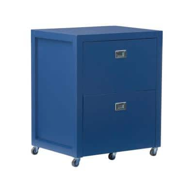 Sara Navy Blue Rolling File Lateral Desk Cabinet
