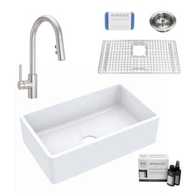 Inspire All-in-One Fireclay 30 in. Single Bowl Farmhouse Apron Front Kitchen Sink with Pfister Stellen Faucet and Drain