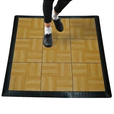 Max Tile 40.75 in. x 40.75 in. x 5/8 in. Light Oak Interlocking Vinyl Tile Portable Tap Dance Floor (9 sq. ft./case)