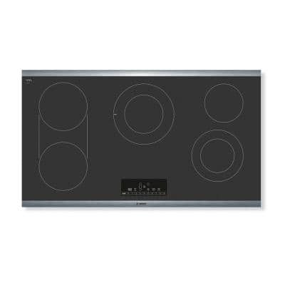 800 Series 36 in. Radiant Electric Cooktop in Black with Stainless Steel Frame with 5 Elements