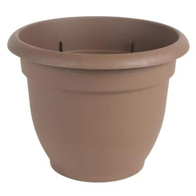 Ariana 13 in. Chocolate Brown Plastic Self-Watering Planter