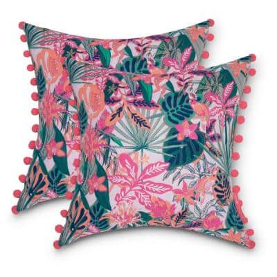 Vera Bradley 18 in. L x 18 in. W x 8 in. D Outdoor Accent Throw Pillows with Poms in Rain Forest Canopy Coral (2-Pack)