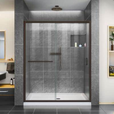 Infinity-Z 32 in. x 54 in. Semi-Frameless Sliding Shower Door in Oil Rubbed Bronze with White Shower Base