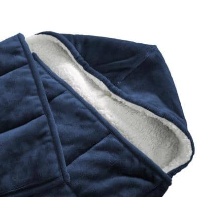 Navy Hooded 10 lbs.Weighted Throw Blanket