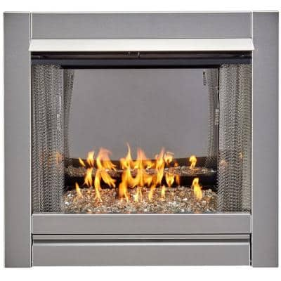 Bluegrass Living Vent-Free Stainless Outdoor Gas Fireplace Insert With Crystal Fire Glass Media - 24,000 BTU