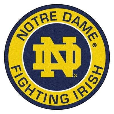 NCAA Notre Dame Gold 2 ft. x 2 ft. Round Area Rug