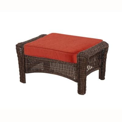 Spring Haven 23.25 x 19.2 Outdoor Ottoman Cushion in Standard Orange