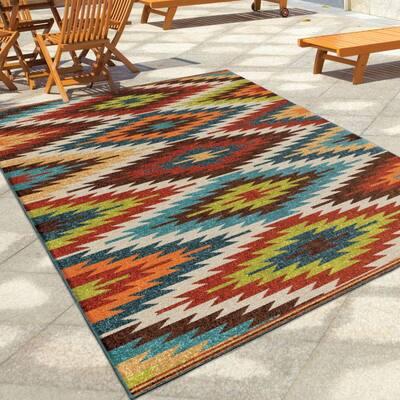Prescott Multi Aztec 8 ft. x 11 ft. Indoor/Outdoor Area Rug