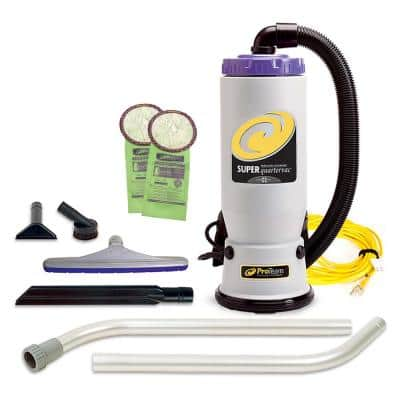 Super QuarterVac 6 Qt. Commercial Backpack Vacuum Cleaner with Xover Multi-Surface 2-Piece Wand Tool Kit