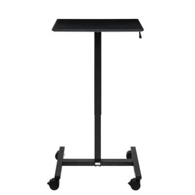 airLIFT 24.4 in. Rectangular Black Gas-Spring Sit-Stand Mobile Laptop Computer Cart Desk with Adjustable Height