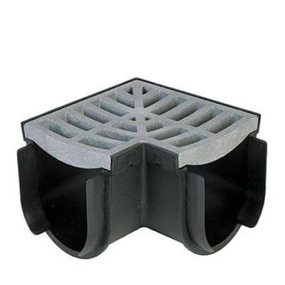 Storm Drain 4.5 in. x 6.5 in. Corner Complete with Portland Grey Grate