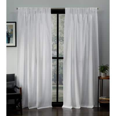 Winter White Solid Pinch Pleat Room Darkening Curtain - 27 in. W x 96 in. L (Set of 2)