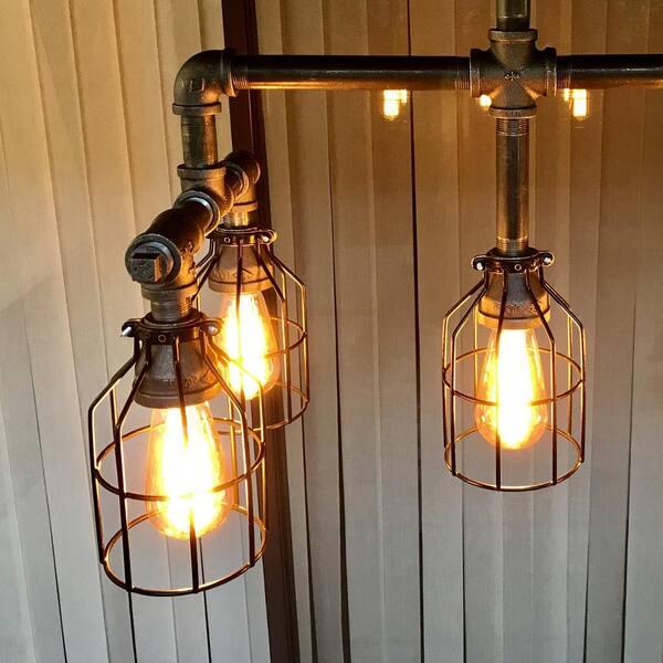 2 Piece Vintage Metal Lamp Guard Pendant Ceiling Light Lamp Bulb Cage Gold