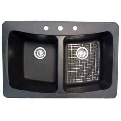 Dual Mount Granite 33 in. 3-Hole Double Bowl Kitchen Sink with Drains and Bottom Grid in Black