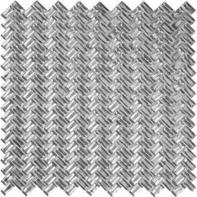 Apollo Tile 10 Pack 11.8-in x 11.9-in Silver Herringbone Matte Finished Glass Mosaic Floor and Wall Tile