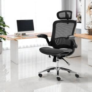 27.5 in. Width Big and Tall Black Mesh Ergonomic Chair with Adjustable Height