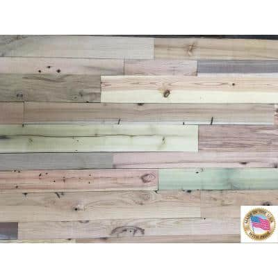 1/4 in. x Varying Width x 4 ft. Kiln Dried Multi-Color Weathered Barn Wood Guts Wall Planks (10 sq. ft. Per Pack)