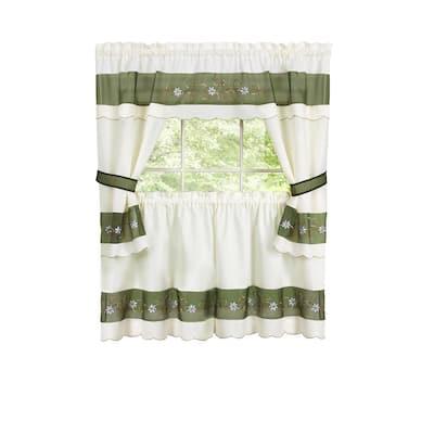 Berkshire Green Polyester Light Filtering Rod Pocket Embellished Cottage Curtain Set 58 in. W x 36 in. L