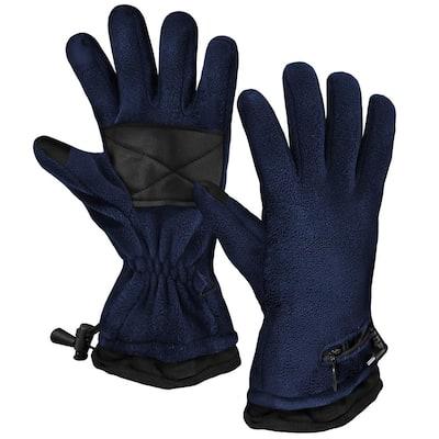 Unisex 1-Size Navy AA Heated Fleece Gloves